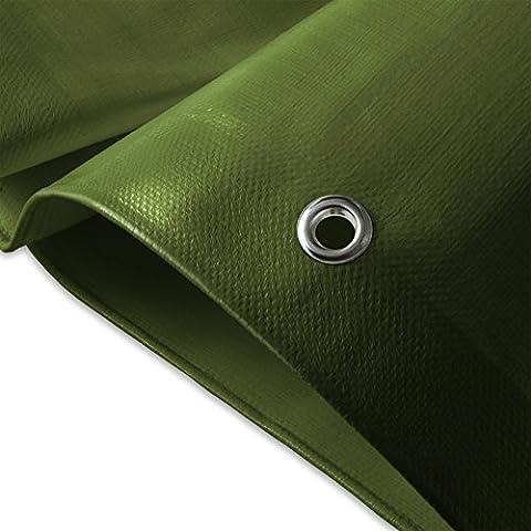 casa pura® Heavy Duty Tarpaulin, High Density Woven Polyethylene and Double Laminated - 3x4m, 180g/m², Blue/Green - 100% Waterproof and UV