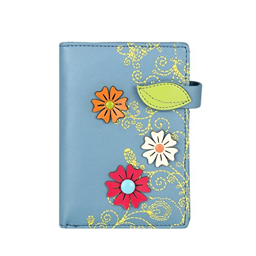 Borsa del portafoglio rfid menkai disegno fiori 774c2 grigio blu