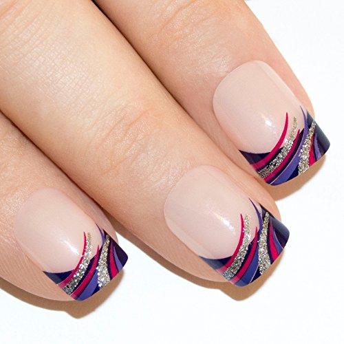 Art bling faux ongles manucure française Glitter Violet 24 Moyen Conseils UK