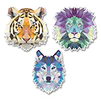 3 x 10cm Funky Lion Tiger Husky Vinyl Stickers Decals Laptop Car Bike Cool #6224