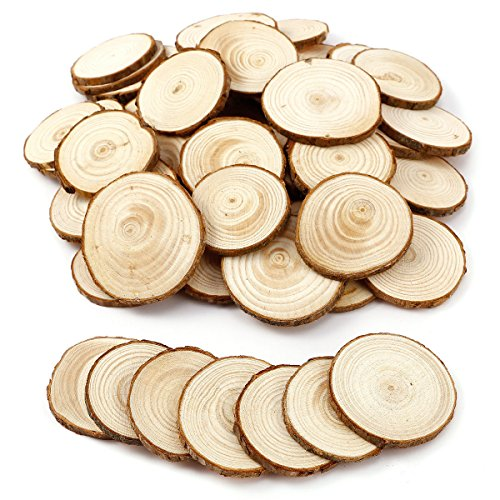 OUNONA 10pcs Wood Slices Round Wooden Discs DIY Craft Embellishment Wedding Centerpieces 9-10cm