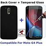Shop Buzz Combo of Back Cover + Tempered Glass - Motorola G4 Plus- Black Back Cover and Tempered Glass Screen Protector For Moto G Plus 4th Gen