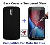 Motorola G4 Plus Combo of Black Back Cover and Tempered Glass Screen Protector