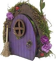 Porta fantasia fata in legno viola con scopa. Prodotto fatto a mano