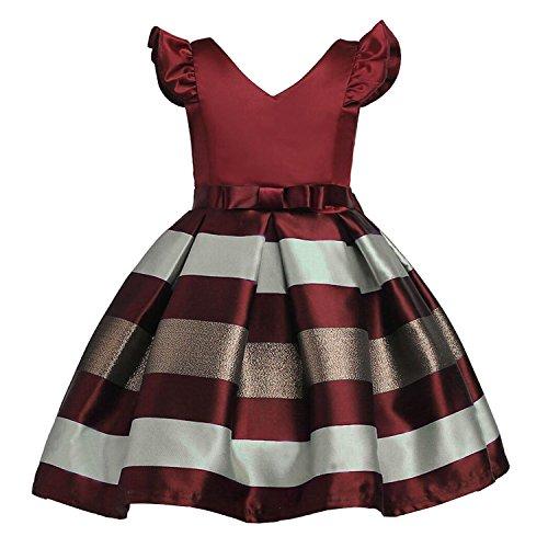 Sommerkleid Cocktailkleid Abendkleid Spitzenkleid Kinder Vintage Prinzessin Party Kleider Bowknot Tutu (Etikett 160 für 11-12 Jahre alt Mädchen, Weinrot) (Party-kleid Für 12 Jahre Altes Mädchen)