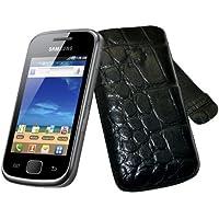 Original Suncase Echt Ledertasche (Lasche mit Rückzugfunktion) für Samsung Galaxy Gio GT-S5660 in croco-schwarz
