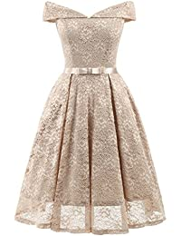Klandchic Vintage SpitzenKleid mit 1 2-Ärmel Frack, Vokuhila Kleid mit  Unterrock, Knielang Abendkleid Elegant… 282b22dda8