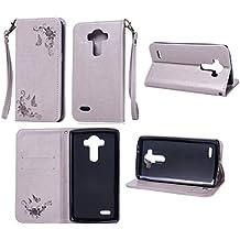 Funda LG G3 Case, Ecoway pintado modelado Embossing Cuero PU Función Stand Fundas protectoras con tarjeta Slot Holder Carpeta de diseño de libro Desmontable correa de mano Función de Soporte Billetera con Tapa para Tarjetas Carcasa Para LG G3 - gris