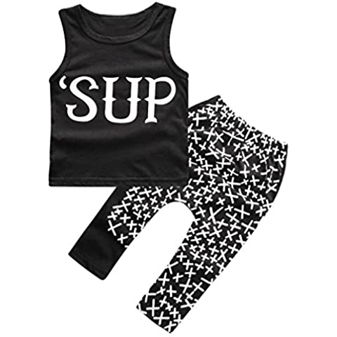 1set Summer Infant Boys Carta geométrico impreso camiseta + pantalones
