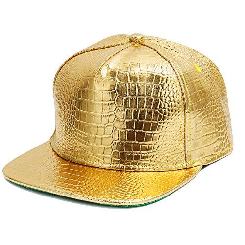 Cusfull Baseball Kappe Metallic Glitzer Baseballmütze Serpentin Glänzend Casual Snapback PU Leder Hut (Gold)