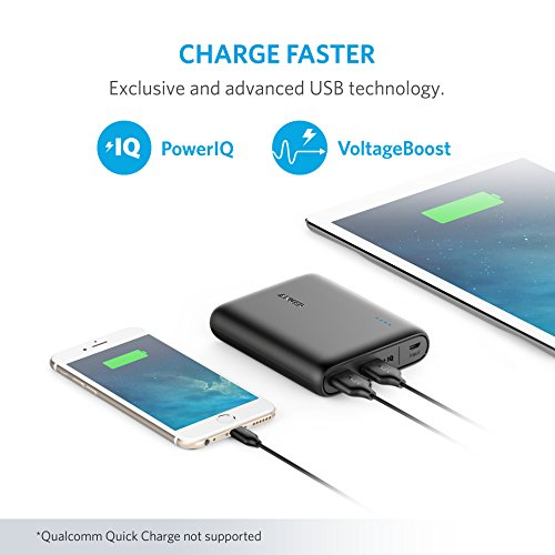 ANKER PowerCore 13000mAh 2-Port Ultra Portable Power Bank with PowerIQ and Voltage for iPhone, iPad, Samsung and More (Black) Image 3