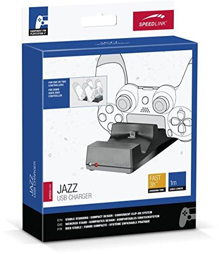 Speedlink JAZZ USB Charger - Ladestation für den Original Dualshock Controller der Playstation 4 (zwei Gamepads gleichzeitig laden - LED Anzeige) für Gaming/Konsole/PS4, schwarz