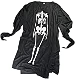 Nerd Clear Geist Kinder-Kostüm Skelett-Verkleidung 3-5 Jahre Knochen Schwarz Weiß Gewand Umhang Fasching Halloween Karneval Gespenst