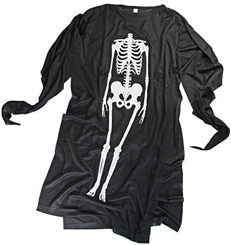 Geist Kinder-Kostüm Skelett-Verkleidung 3-5 Jahre Knochen Schwarz Weiß Gewand Umhang Fasching Halloween Karneval (Für Halloween Nerd Für Kinder Kostüme)