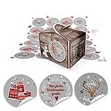 48 kleine braune Engel Geschenkboxen weihnachtliche Schachteln Boxen 8 x 6,5 x 5,5 + 48 runde rot-weiß graue Aufkleber mit weihnachtlichen Gruß-Texten … Frohe Weihnachten, Frohes Fest 14127