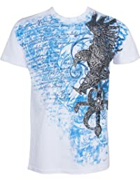 Sakkas Eagle and Sword Metallic Silver Embossed Short Sleeve Crew Neck Cotton Mens Fashion T-Shirt