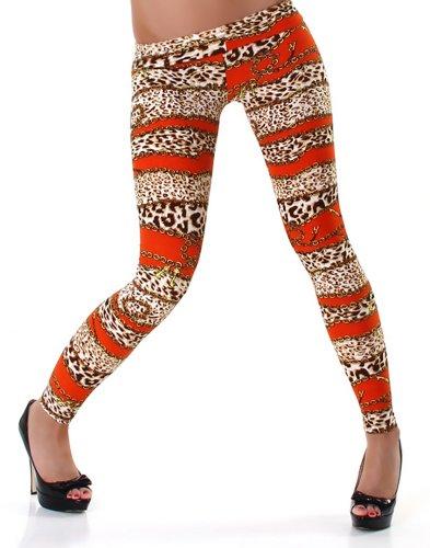 PF-Fashion Damen Leggins Leggings Leo-Ketten-Print - 38-40 Orange