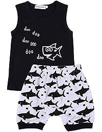 Freebily Ropa Verano para Bebé Niños Dibujo Animado de Tiburón Conjunto  Infántil Camiseta sin Mangas Pantalones Cortas Algodón… a7f0efff8695
