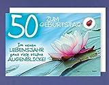 Grußkarte 50 Geburtstag Karte Happy Birthday Applikation Glücksbringer Lebensjahr C6