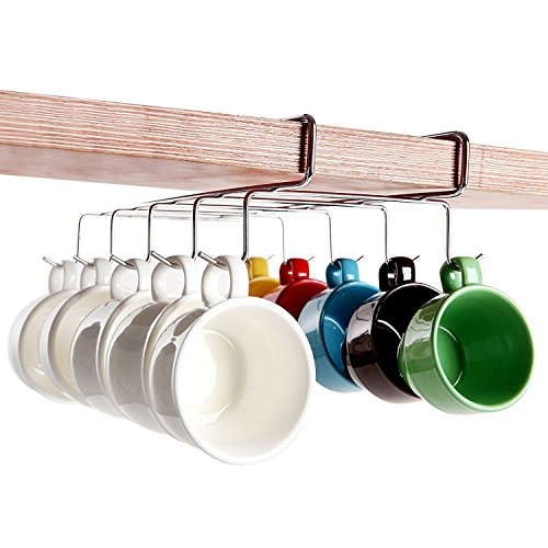 Top Home Solutions® 10Haken chrom silber unter Regal Schrank Rack Becher Tee Tasse Halter Aufbewahrung Haken