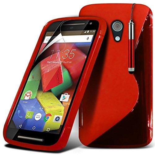 Motorola Moto E 20152. Generation, Huawei Ascend G620s, Motorola Moto G (2014) G22. Generation Schutzhülle schwarz, 2015Hülle der 2. Generation hochwertig robust, schützt vor Stößen, Kratzern und Staub, Schutzhülle & Displayschutz + Touchscreen-Eingabestift für Motorola Moto E von i–Tronixs Motorola Moto G 4G (2nd gen) 2015 S line+ Pen (Red)