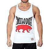 SMILODOX Tank Top Herren | Muskelshirt mit Aufdruck für Sport Gym Fitness & Bodybuilding | Muscle Shirt mit Aufdruck - Unterhemd - Achselshirt - Trainingshirt Kurz, Farbe:Weiß, Größe:S