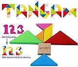 TOWO Tangram Puzzle di Legno per Bambini - Blocchi Grandi e Scatola Colorata - Oltre 200 Combinazioni e Forme Geometriche - Ideale da portare in Viaggio - Gioco di Abilità in Legno per Bambini e Adulti