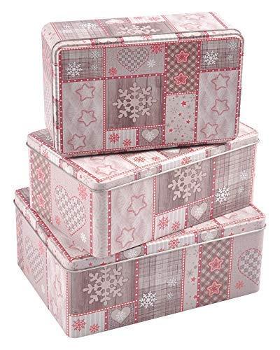 BURI Weihnachtsdosen 3er-Set Plätzchendose Gebäckdose Keksdose Vorratsdose Deko eckig, Variante:rotbraun