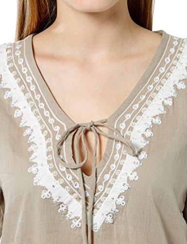 Berydale Tunique à Broderies, Perles et Strass Pour Femme Beige/Blanc