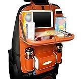 LvRao PU Leder Rücksitztasche fürs Auto mit Tablett-Fach | Rücksitz-Organizer für Kinder, Reise-Utensilien und Spielzeug | Multifunktion Auto Rückenlehnenschutz (Braun)