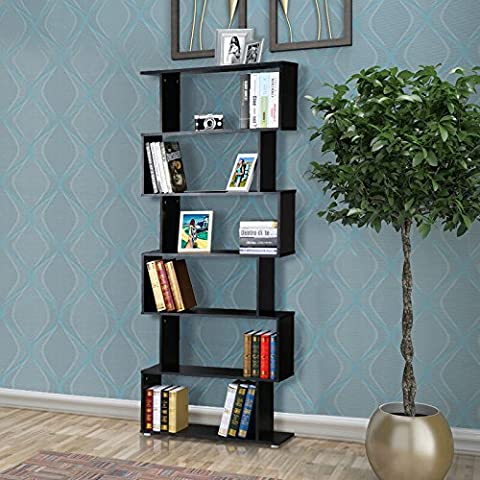 Bigzzia 6 Tier Modern Contemporary Bookcase Shelf Wood Display Cabinet Storage Shelves Home Office Bedroom