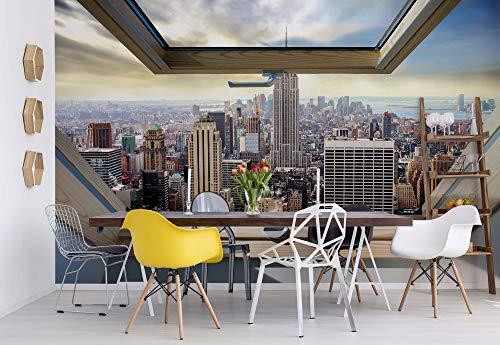 fototapete dachfenster New York Skyline Der Stadt 3D-Dachfenster-Ansicht Vlies Fototapete Fotomural - Wandbild - Tapete - 312cm x 219cm / 3 Teilig - Gedrückt auf 130gsm Vlies - 10415VEXXL - New York