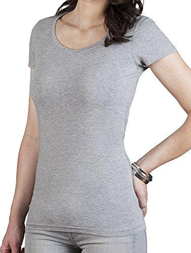 V-Neck T-Shirt Slim Fit Lang Damen Grau-Melange