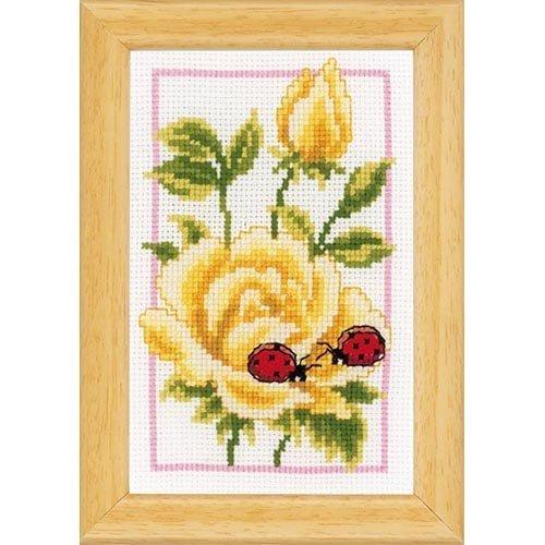 Vervaco Miniaturen Rosen, 3er Set Zählmusterpackung-Stickpackung im gezählten Kreuzstich, Baumwolle, Mehrfarbig, 8 x 12 x 0.3 cm, 3-Einheiten (Miniatur-rosen)