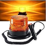 STARPIA Lampeggiante a LED Luce di Emergenza, lampeggianti per auto/trattore/camion,Base Magnetica per Spina Accendisigari CC 12-80V Veicoli (Ambra)