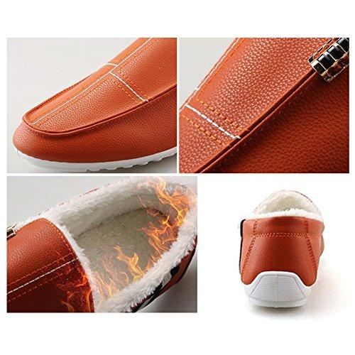 Deylaying New Hommes Hiver Pantoufles Mocassins Chaud Flat Chausson Doux Doublés de Fourrure Slippers Orange