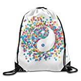 GONIESA Ying Yang Rainbow Color Confetti Effect Graphic Design On Ying Yang Sign Asia Themed Peace Zen Print Drawstring Bags Visor Backpack for Teens College