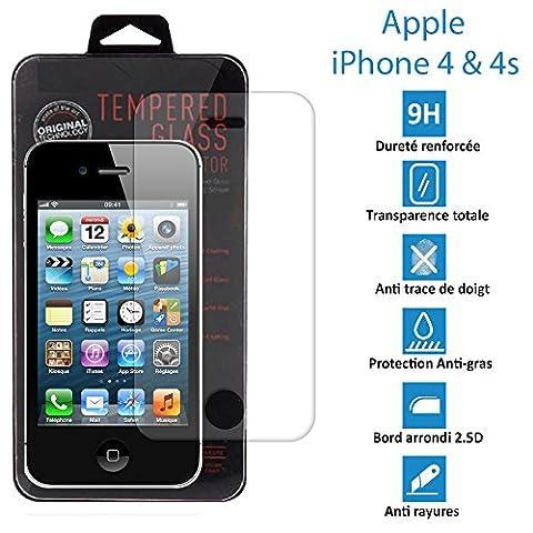 TOPACCS - Apple iPhone 4 et 4s - Véritable vitre en verre trempé ultra résistante - Protection écran