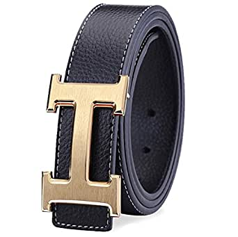 bb5d002e2 WEKING Men's Leather with Pin Buckle Belt: Amazon.in: Clothing ...