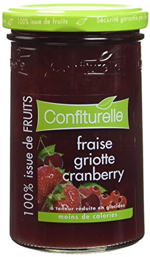 Confiture fraise/griotte/cranberry 100% fruit sans sucre ajouté CONFITURELLE 290g