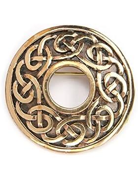 Brosche Gewandnadel Schmuck Bronze keltischer Knoten Broschennadel, Durchmesser: 3,5cm