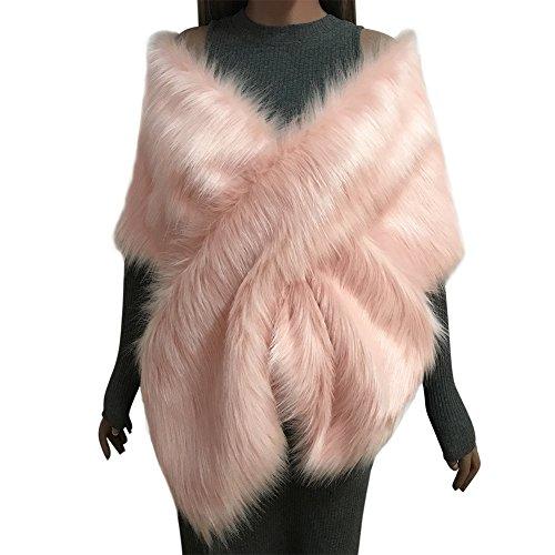 Samber Estolas para Fiestas Mujer de Pelo Sintético Chales de Invierno y Otoño Decoración para Vestidos (Rosa)