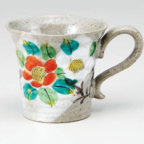 Kutaniyaki Sazanka/fleurs Mug en céramique de coupe à la main (japan import) K4-867