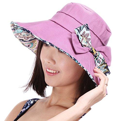 Butterme dames Pliable Grand Bord PUF 50+ plage d'été chapeau de soleil avec bowknot Chapeau de Plage floral élégant Violet