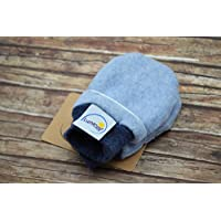 Handschuhe aus Bio-Baumwolle, 44 48 50 56 62 68 74 80, für Kinder, Babys, Frühchen, Fäustlinge, hellblau Fleece, dunkelblau meliert Bündchen, Mädchen, Jungen, warm weich