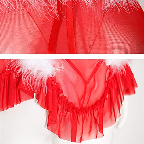 ZJZK Dessous-Sets Für Damen Damen Dessous Korsett Spitze Bügel Rassig Musselin Nachtwäsche Unterwäsche BH Slip Gorge Sexy-Red_XL - 6