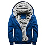 Herren Winterjacke,Moonuy Herren Boy M-5XL Hoodie Winter Warm Fleece Reißverschluss Pullover Charme Stilvolle Jacke Patchwork Hot Outwear Baumwollmantel in grau, rot, schwarz (Blau, 5XL)