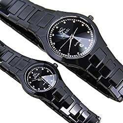 Men and women couple watches/ Black ceramic watch/Simple casual watches-A