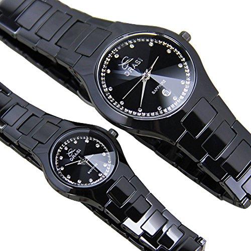 Montres hommes et femmes couple   Black ceramic watch   Simples casual  montres-A cf3d2cb93b8