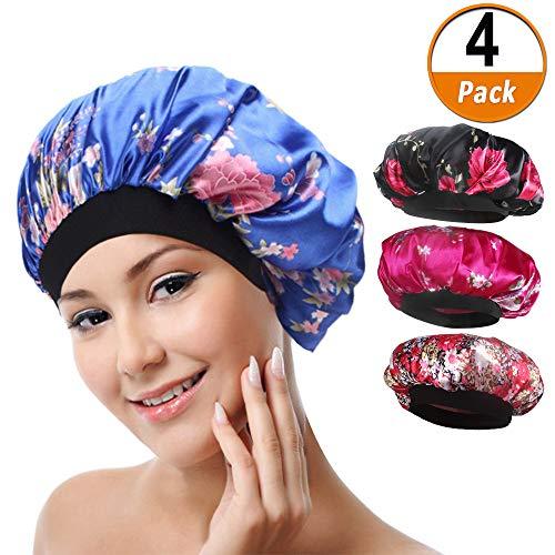 4 paket Weiche Satin Schlafmütze Wide Band Salon Bonnet Silk Nacht Schlaf Hut Haarausfall Kappe für Frauen, 4 ()